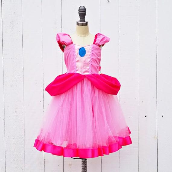 Princess Peach Costume Girls Super Mario Costume Princess Etsy