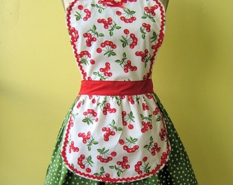 womens Retro 50s green Polka DOT full APRON with  red country CHERRY print  make a sexy fifties hostess or Valentines Day gift outfit and is vintage inspired Valentine