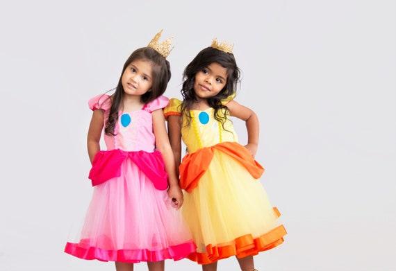 Princess Peach Costume And Princess Daisy Costume Dresses Girls Super Mario Costume Princess Peach Dress Party Princess Daisy Dress