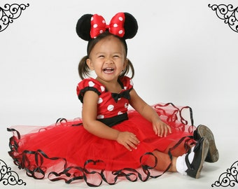 Red MINNIE MOUSE dress,  Minnie Mouse TUTU dress, Minnie Mouse  Party Dress, Red Polka Dot dress, 1st Birthday party, toddler girl dress