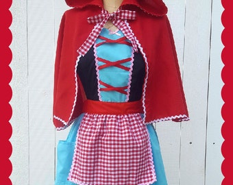 Little Red Riding hood costume, fairy tale apron, retro apron, dress up costume aprons, womens costume, Halloween costume, red cape Active