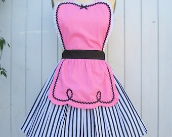 retro apron  pink 50s DINER WAITRESS ...ice cream parlor fifties hostess bridal shower gift vintage inspired flirty full