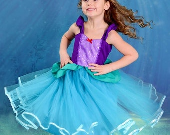 ARIEL dress  Ariel costume Ariel princess dress for toddlers and girls vacation outfit Ariel  birthday party costume mermaid dress 7/8 10/12