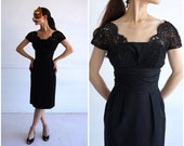 Vintage 60 39 s Black Lace Cocktail Wiggle Dress by I. Magnin Co Small