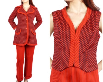 6aff5c7390afca Vintage 60s/70s Red and Navy Polka Dot and Striped Lilli Ann Knit Mixed  Contrasting Print 3 Piece Pant Suit with Vest | Medium/Large