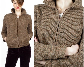 90s grunge hippie hipster 70s ribbed cardigan Sweater Rust brown autumn winter sweater zip up marled knit sweater 1970/'s