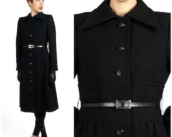 Vintage 1960s Black Fitted Wool Coat Jacket with Fitted Waist and Belt by Gunter Project 2  | XS Small