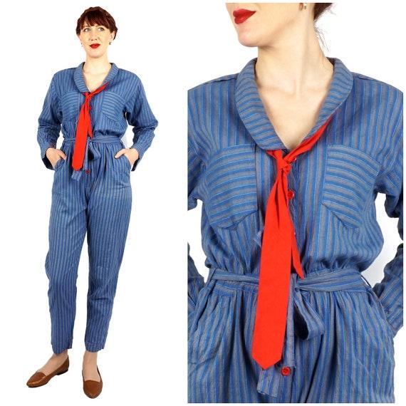 Vintage 1980s 100% Cotton Blue & Gray Stripe Jumps
