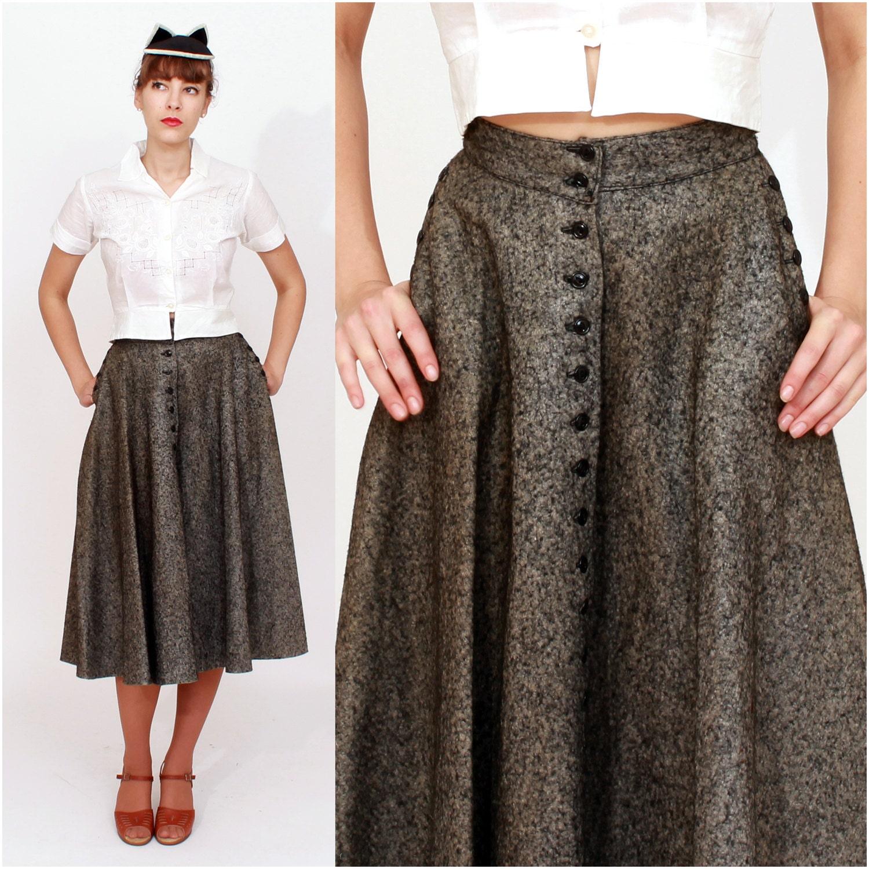 4e6031b0f3bb Vintage 1950s High Waisted Dark Gray Felted Wool Circle Skirt | Etsy
