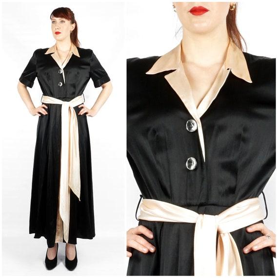 Vintage 1940s Heavy Satin Black & Pink Shirt-waist