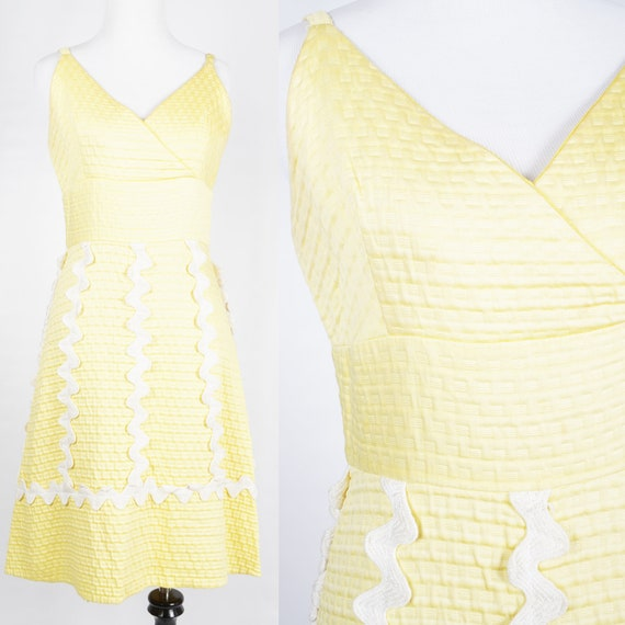 Vintage 60's Yellow Strappy Sun Dress with Giant W