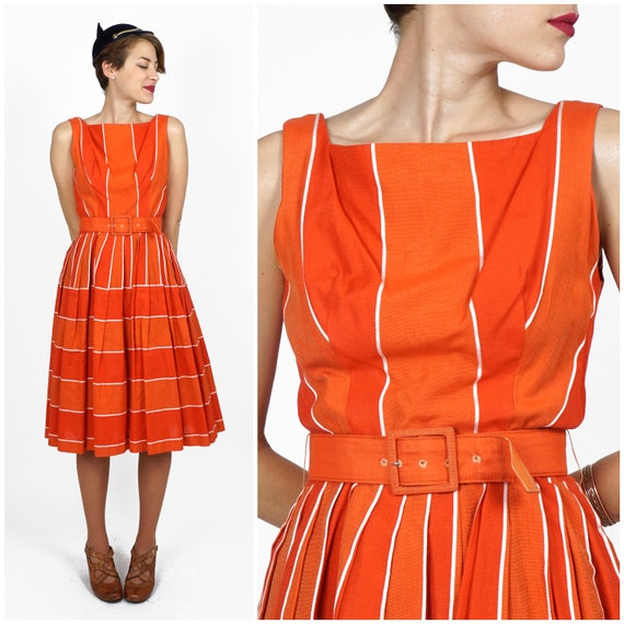 Vintage 50s/60s Belted Orange Striped Day Dress by