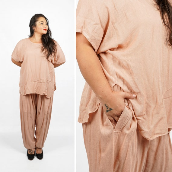 Vintage 80s/90s Boho Chic Soft Pink Beige Two Pie… - image 1