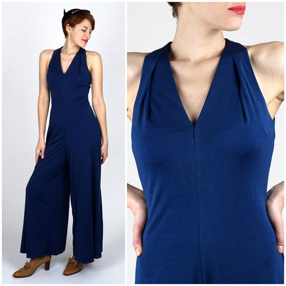 Vintage 1970s Navy Blue Wide Leg Fitted Jumpsuit b