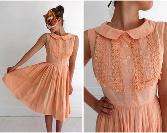 Vintage 60's Sleeveless Sherbet Orange Ruffle-Front Day Dress with Peter Pan Collar | XS/Small
