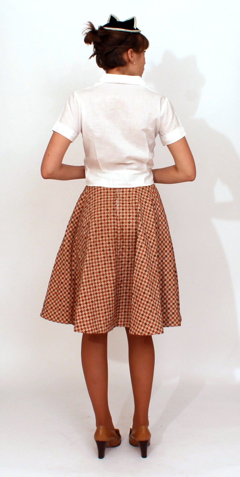 Vintage 1950s Quilted Brown Checkerboard Circle Skirt by Carole Chris XS