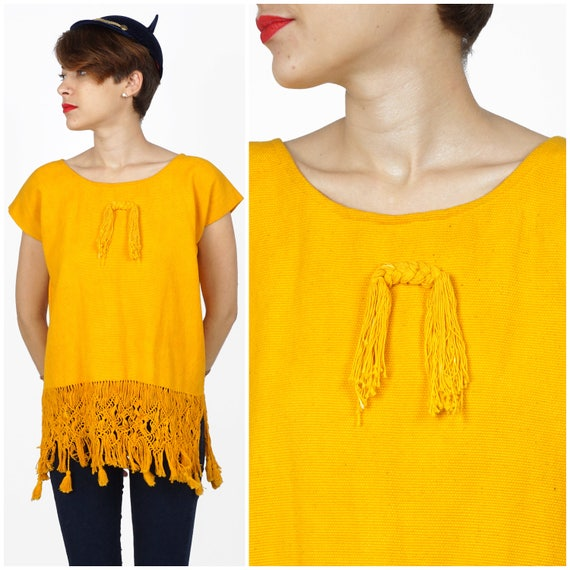 Vintage 1970s Bright Yellow Fringe Huipil Top with