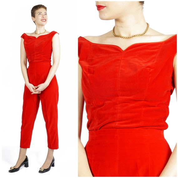 Vintage 1950s/60s Bright Red Velvet Sleeveless Hos