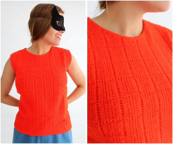 Vintage 50s/60s Bright Red Sleeveless Sweater by J