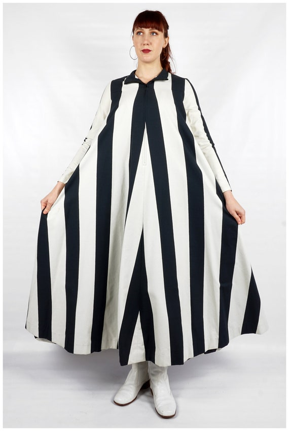Vintage 1960s Navy and White Striped Collared Max… - image 4