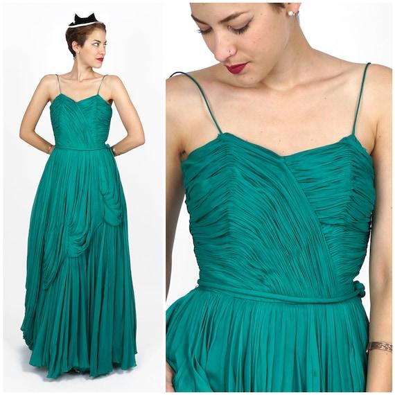 Elegant Vintage 50s Emerald Green Silk Chiffon Flo