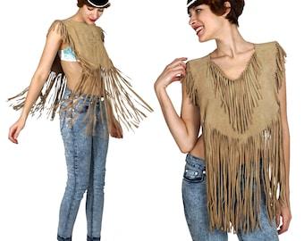 Vintage 70s Light Brown Suede Fringe Vest Poncho | One Size XS Small Medium Large