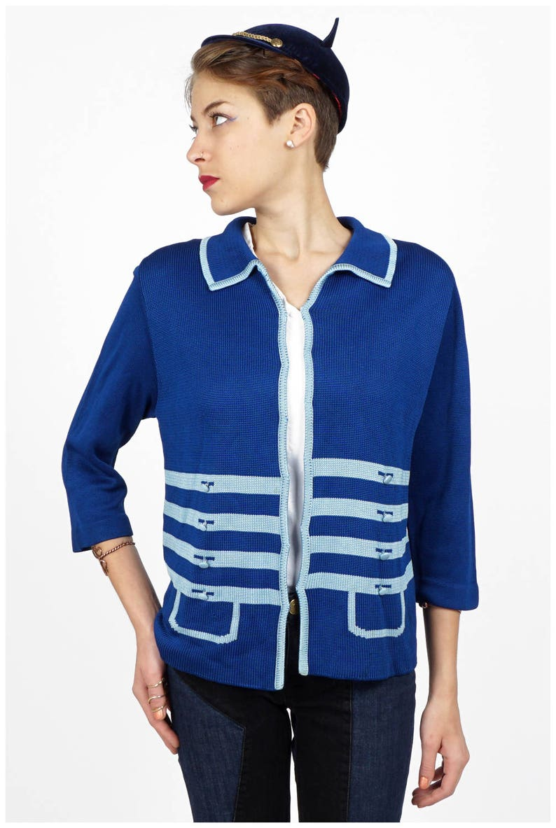 Medium Vintage 1960s Blue Knit Trompe L/'oeil Cardigan