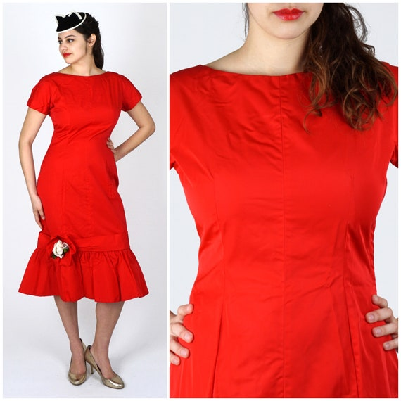 Fitted Vintage 50s/60s Bright Red Taffeta Mermaid