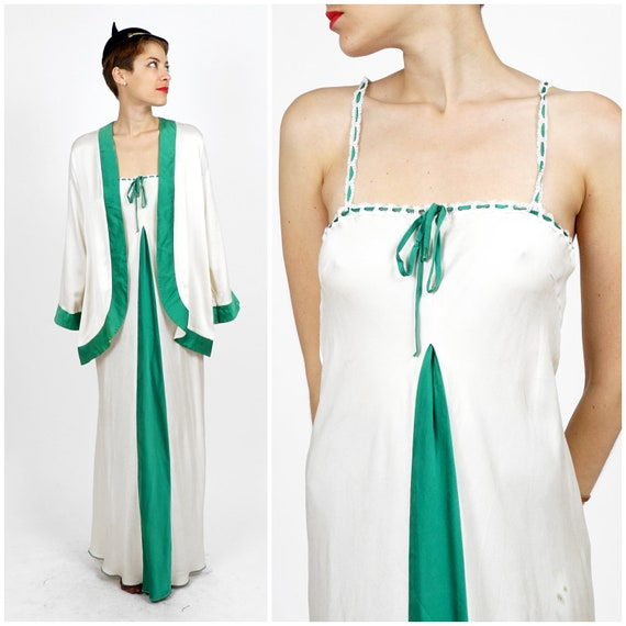 Vintage 1940s Silk White and Green Night Gown and
