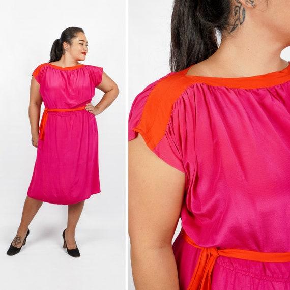 Vintage 1970s/1980s 100% Silk Pink & Red Belted Dr