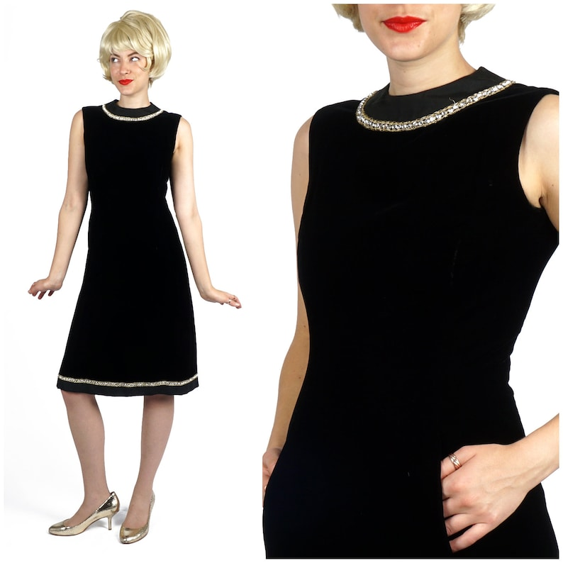 596c8cee7b74af Vintage 1960s Black Velvet Sleeveless Cocktail Dress with