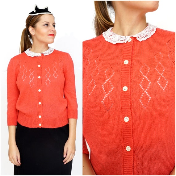 Vintage 1980s Salmon Pink Cardigan with Lace Colla