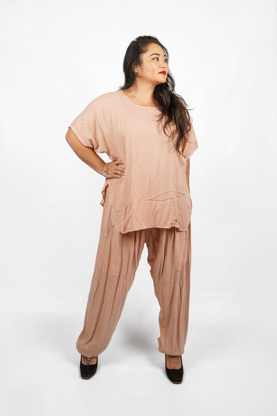 Vintage 80s/90s Boho Chic Soft Pink Beige Two Pie… - image 2