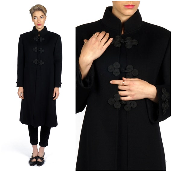 letter a r vintage 60s classic black wool coat w stand up mandarin 15657 | il 570xN.1596745074 65lc