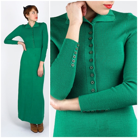 Vintage 1960s Emerald Green Long Maxi Sweater Dres