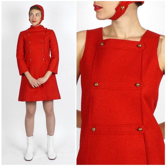 Vintage 1960s Mod Red Felt Mini Dress & Coat Set w