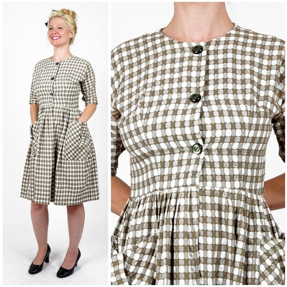 Vintage 50s/60s Brown & White Gingham Check Shirt-