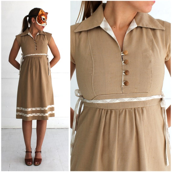 Vintage 1970's Boho Babydoll Dress in Light Brown