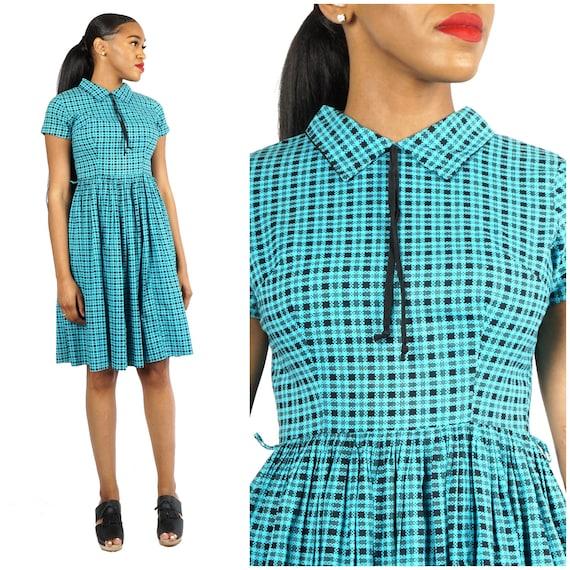 Vintage 1950s Blue & Black Plaid Cotton Day Dress