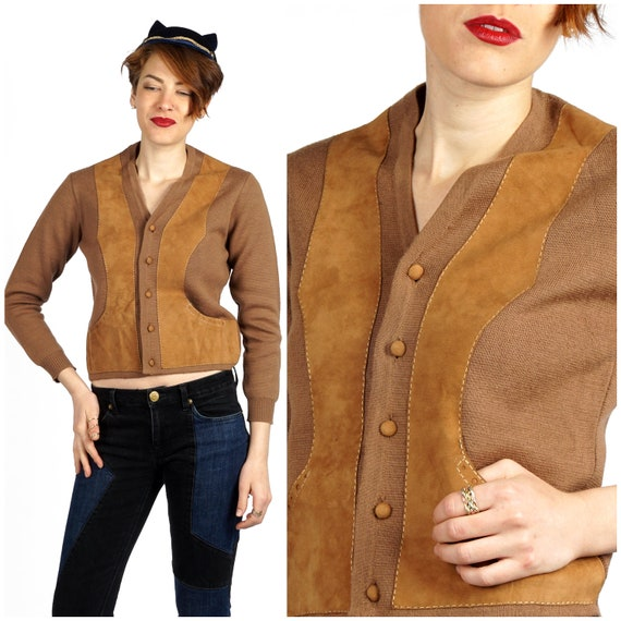 Vintage 1970s Boho Wool Knit & Brown Suede Leather