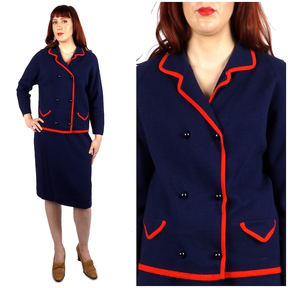 Preppy Vintage 1960s Double Breasted Navy and Red