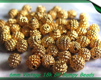 Vintage Beads 18K Gold Plated 6mm Bumpy Beads 20