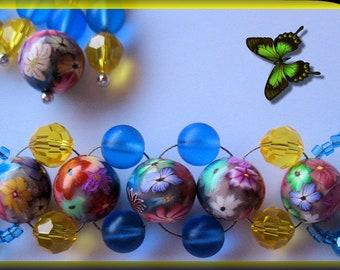 Artisan Flower Garden Bracelet and Earring Set 925 SS