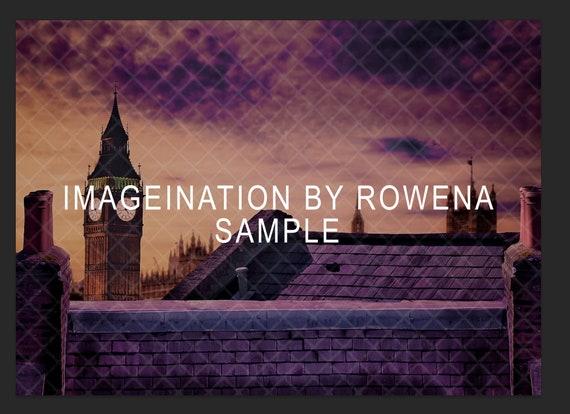 composite art supply fantasy fairytale Rooftops of London digital backdrop| fairytale digital background chimney tops
