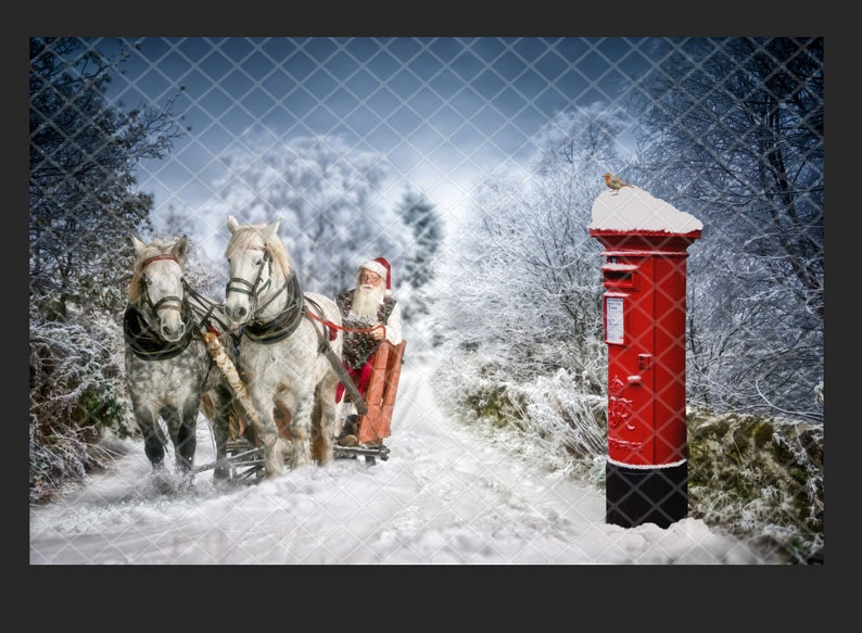 snow digital backdrop Santa and sleigh with red postbox white horses christmas composite photo art digital background