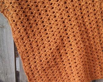 Prayer shawl for women, crochet shawl handmade, gold shawl, comfort shawl for women, crochet accessories, mourning gift, widow gift