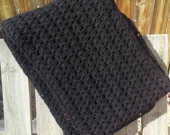 Prayer shawl for women, crochet shawl handmade, black shawl, comfort shawl for women, crochet accessories, mourning gift, widow gift, tallit