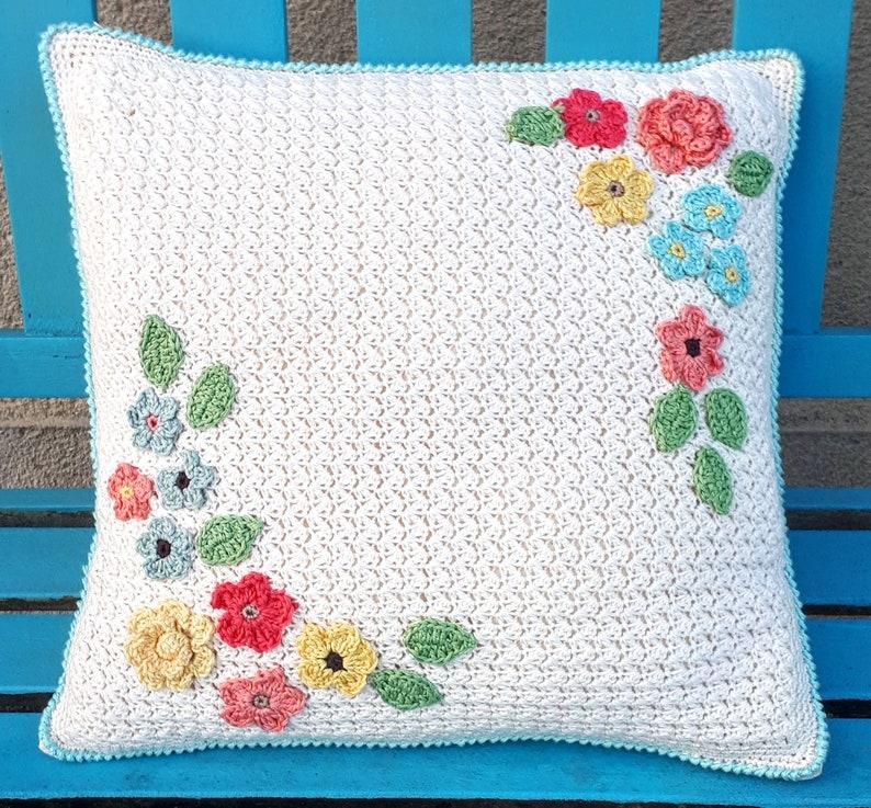 Crochet Pillow Cushion Crochet Flowers PDF pattern image 0