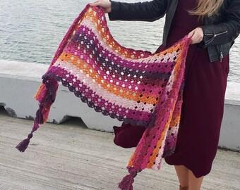Gemstones Crochet Shawl Wrap Pattern PDF photo tutorial gradient yarn