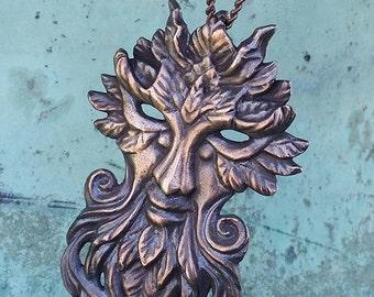 Key of the Green Man -- Bronze Pendant